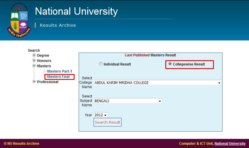 College wise Masters Final Result 2013 nu.edu.bd/results