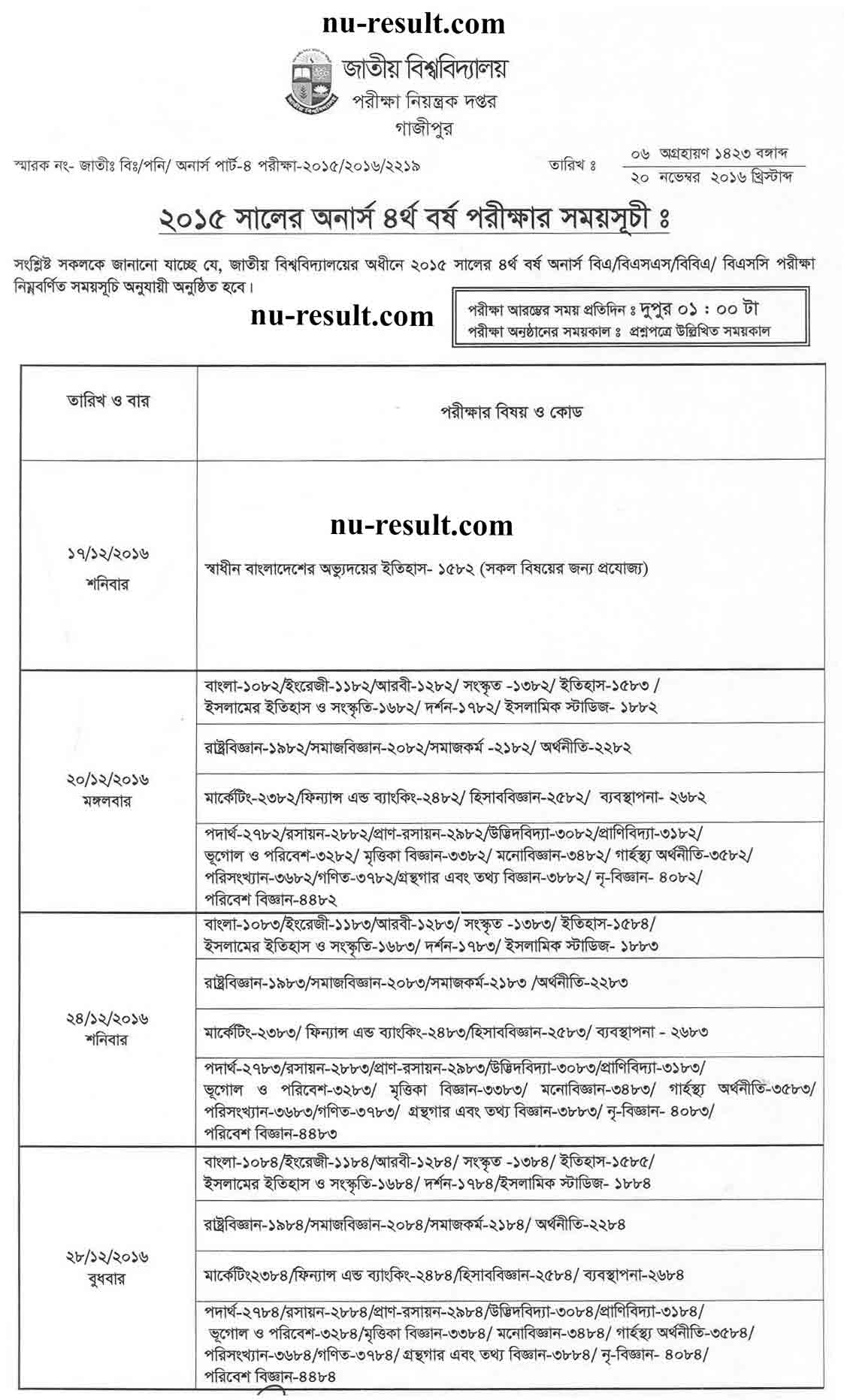 National University Honors 4th year exam routine 2015 nu.edu.bd/routines