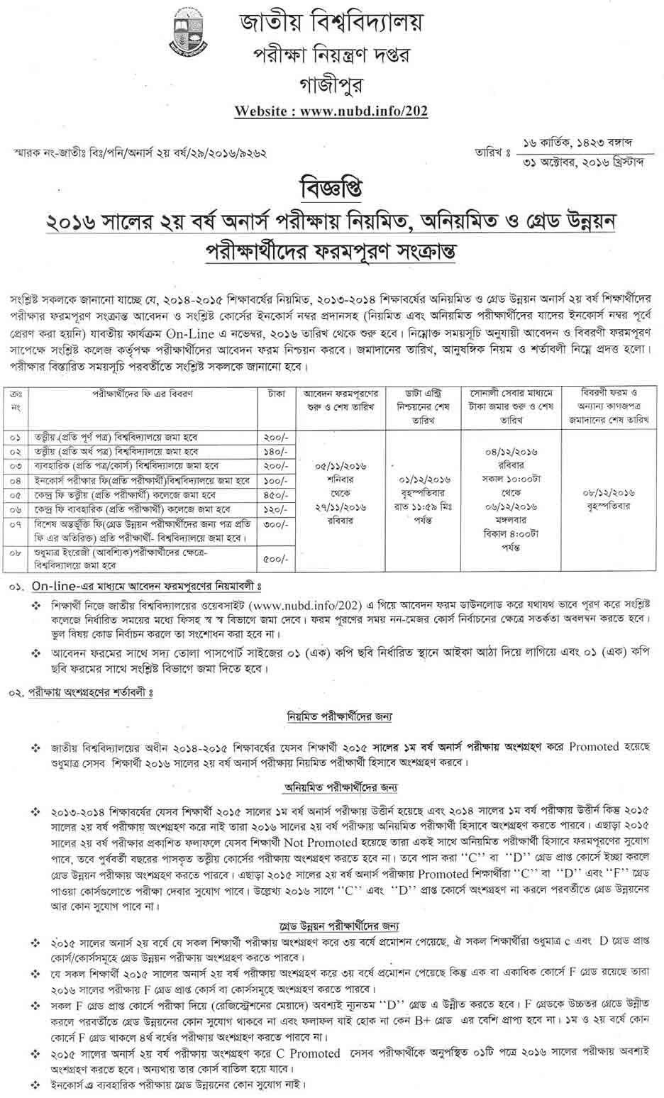 National University Form Fill Up Notice of Honors 2nd Year