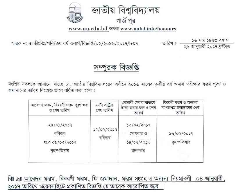 Honors 3rd year form fill up notice of nu.edu.bd