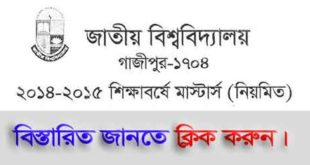 Masters Regular Admission 2014-2015 Session Notice